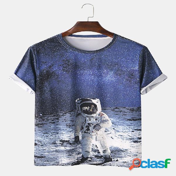 Mens astronauta dos desenhos animados 3d impresso casa casual camiseta de manga curta