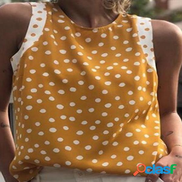 Tops de alças sem mangas com estampa de bolinhas contrastantes para mulheres