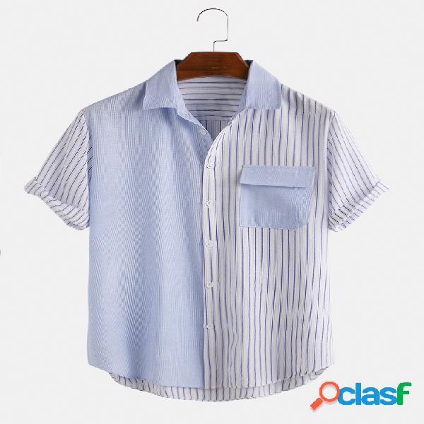 Camisas masculinas patchwork contraste estilo listrado casual 100% algodão