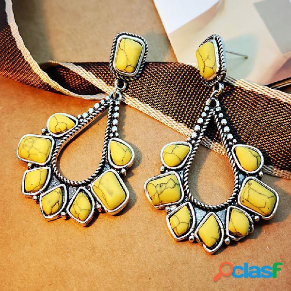 Gota de água oca geométrica de metal vintage brincos amarelo irregular turquesa brincos