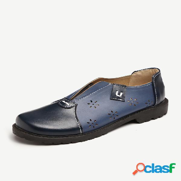 Mulheres oco emenda cor soild confortável senhora plana sapatos casuais