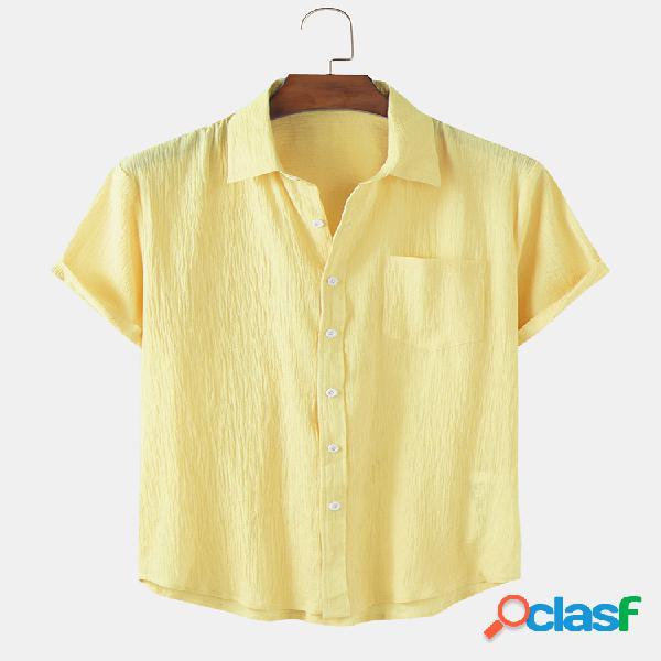 Camisas masculinas de algodão respirável fino de verão manga curta
