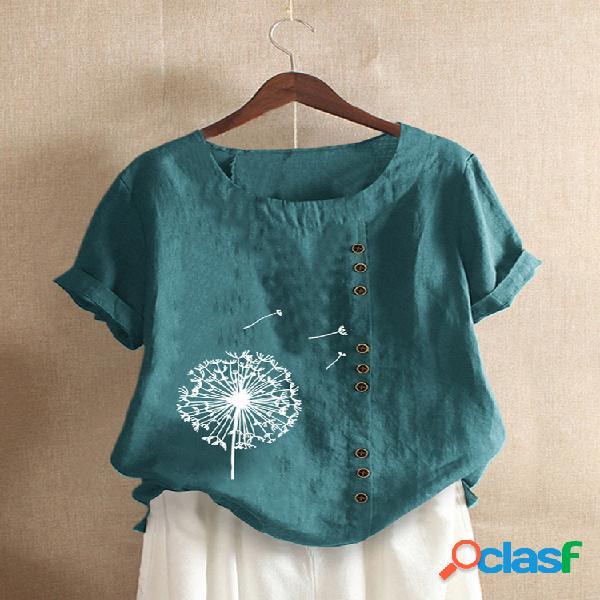 Camiseta de manga curta estampada floral para mulheres