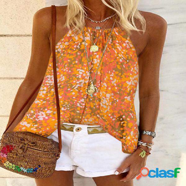 Camiseta regata multicolorida com estampa floral halter boêmio para mulheres