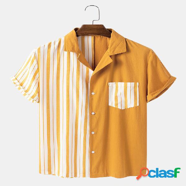 Homem 100% algodão listrado patchwork casual solto designer camisa