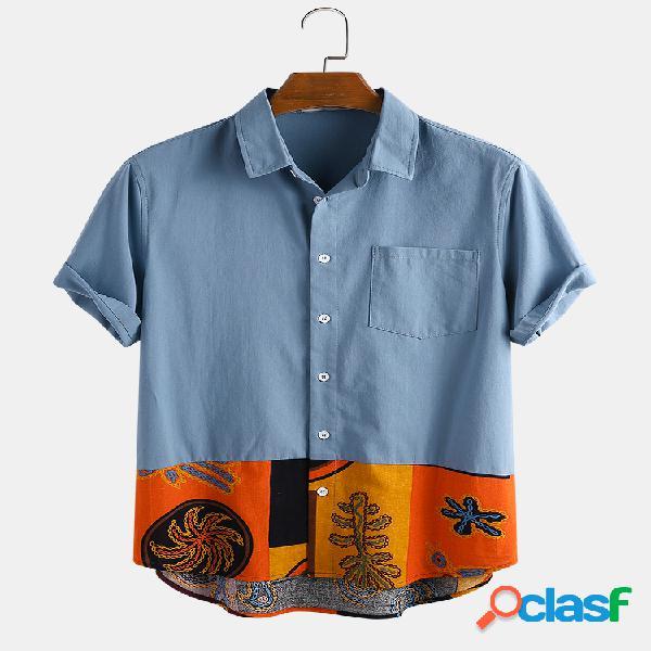 Patchwork estampado de algodão étnico masculino, casual camisa