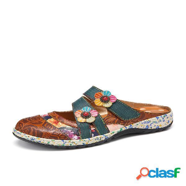Sapatos baixos socofy vintage feito à mão em couro floral gancho alça deslizante em tamancos mulas