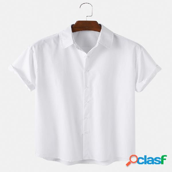 Camisas masculinas de algodão respirável cor sólida casual manga curta - 5 cores