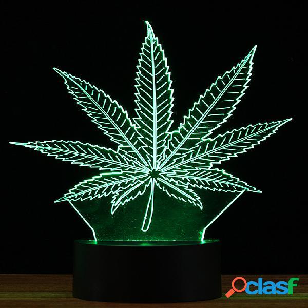 Controle remoto 16 cores maple folha 3d led lâmpada usb com luz de toque alterável
