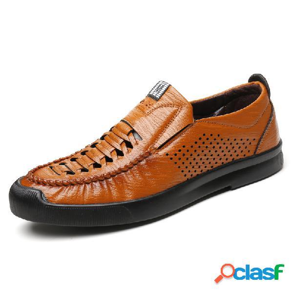 Homens microfibra couro estilo tecido buraco respirável soft sola sapatos casuais