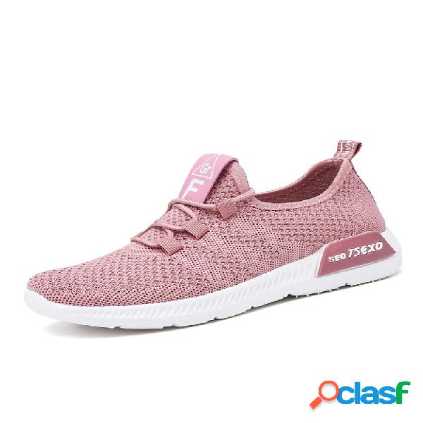 Mulheres malha wearable soft único tênis de corrida casual sapatos esporte