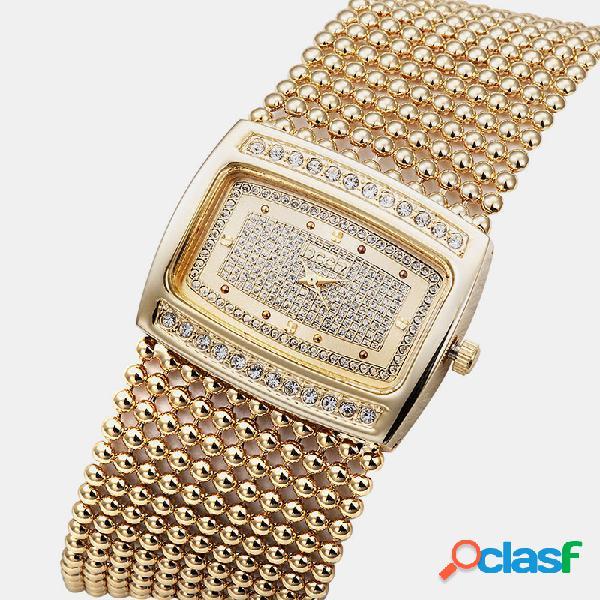 Relógio de pulso de mulheres de luxo na moda relógio de quartzo com fecho dobrável duplo específico