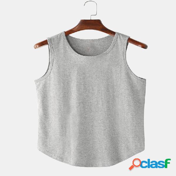 Tops casuais masculinos 100% algodão respirável cor sólida