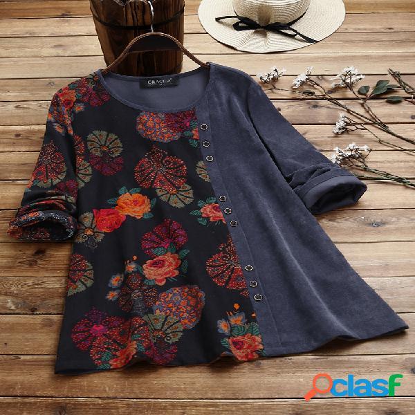 Blusa de veludo cotelê com estampa floral remendada com gola o e manga comprida