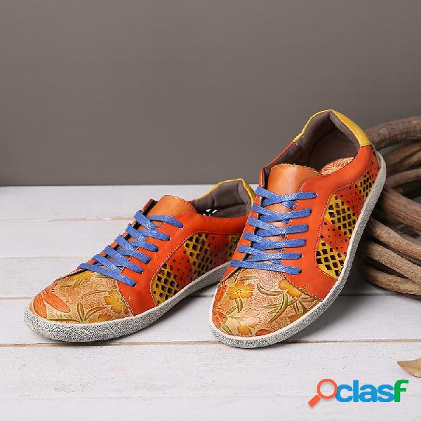 Impressão em couro retro socofy padrão tênis casual com costura de costura
