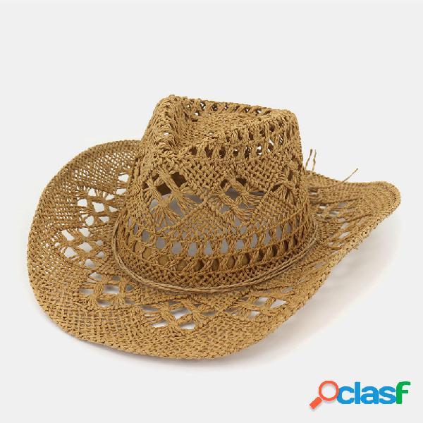 Men & women protetor solar sun chapéu chapéu de palha de cowboy ocidental chapéu boné de tecido à mão