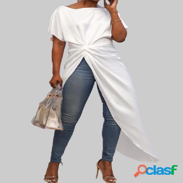 Blusa comprida tamanho plus de cor sólida frente irregular manga curta