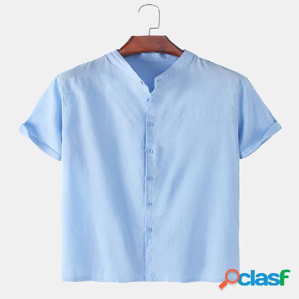 Camisa masculina de linho de algodão de cor sólida com colarinho solto e casual camisas de manga curta