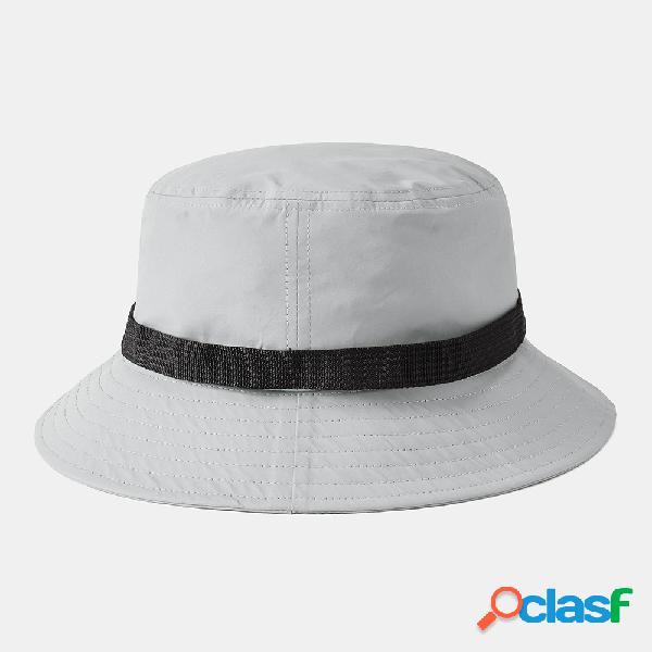 Cor sólida buckle automatic fisherman chapéu chapéu de balde dobrável e respirável