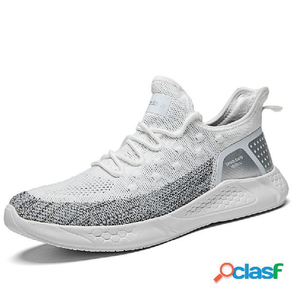 Homens de tecido de malha respirável soft sola sports casual sneakers