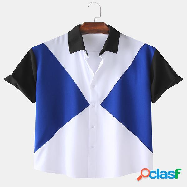 Camisas masculinas de cor contraste patchwork casual respirável de manga curta