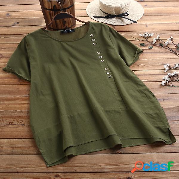 Camiseta de manga curta com botão casual plus tamanho com bolsos