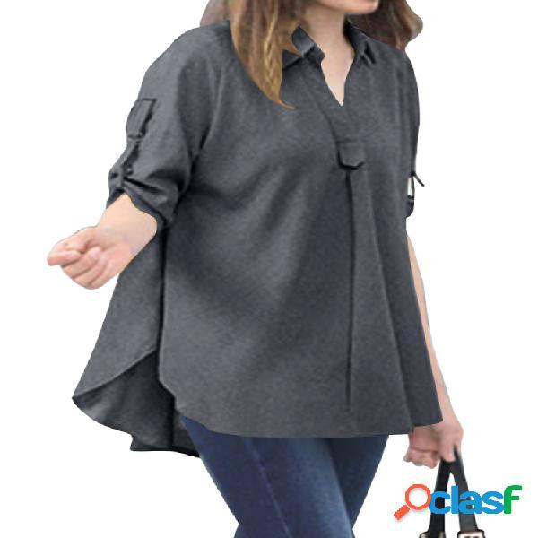 Casual cor sólida irregular plus tamanho solto camisa