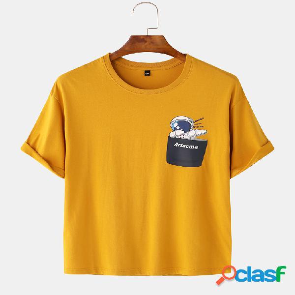 Masculino 98% algodão engraçado desenho animado peito astronauta de bolso t-shirt de manga curta