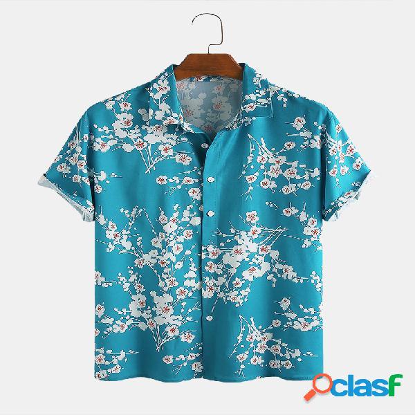 Ameixa masculina estilo chinês padrão férias de lazer camisa