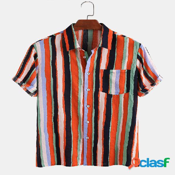Camisas masculinas de algodão respirável colorful listradas de manga curta