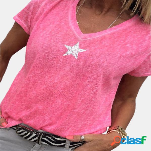 Camiseta casual star print manga curta para cima