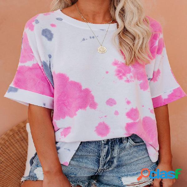 Camiseta com decote em o de manga curta estampada tingida para mulheres