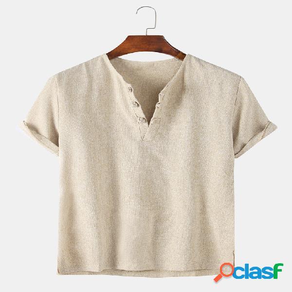Camiseta masculina de linho de algodão cor sólida com fivela casual para casa
