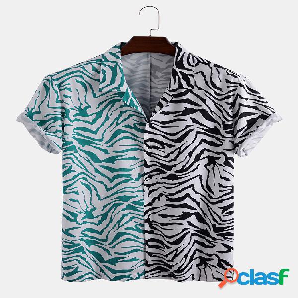 Homens fun zebra patchwork listrado casual camisa