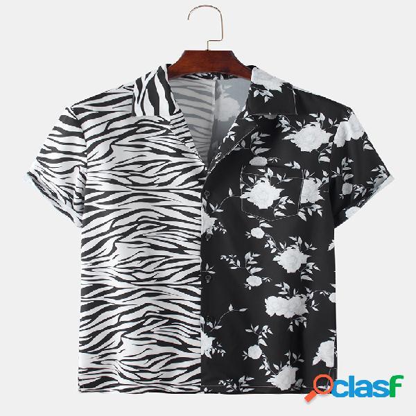 Mens patchwork zebra floral impresso manga curta camisa