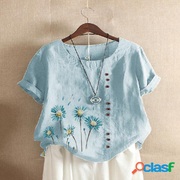 Camiseta de manga curta com estampa de flores com botões para mulheres