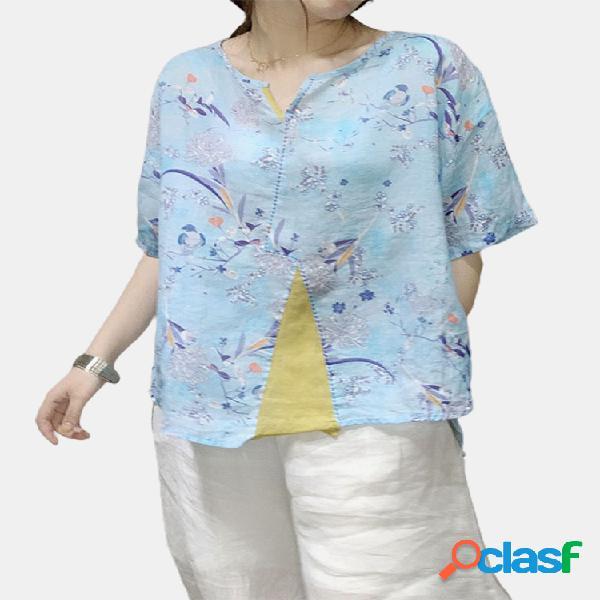 Floral impresso patchwork decote em v meia manga camisa para mulheres