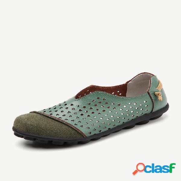 Lostisy mulheres de tamanho grande splicing couro dedo do pé redondo respirável slip em soft mocassins informais