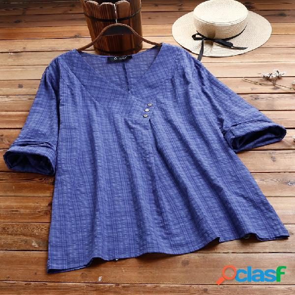 Manta com decote em v manga comprida algodão plus blusa de tamanho