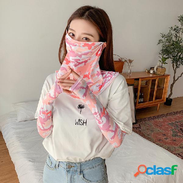 Protetor solar estilo 5 multicolor manga braço manga braço guarda manga rosto gelo seda máscara