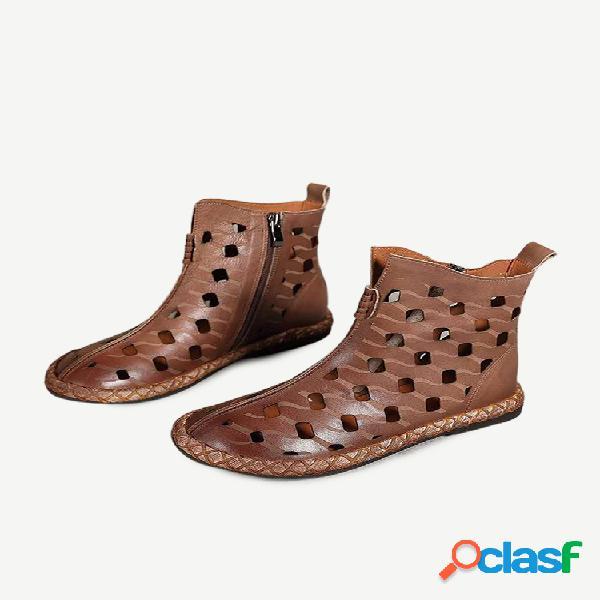 Botas femininas retrô soft respirável com zíper plano e tornozelo plano