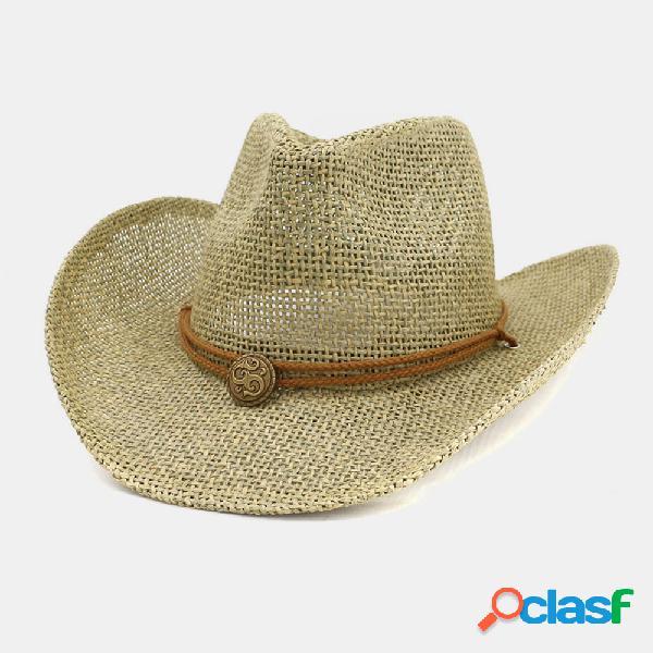 Men & women palha de caubói ocidental chapéu jogador chapéu ao ar livre praia chapéu protetor solar sun chapéu