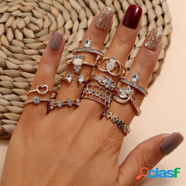 Pêssego oco de metal do vintage coração anéis geométricos gota de água anéis de strass conjunto flor anéis frisados