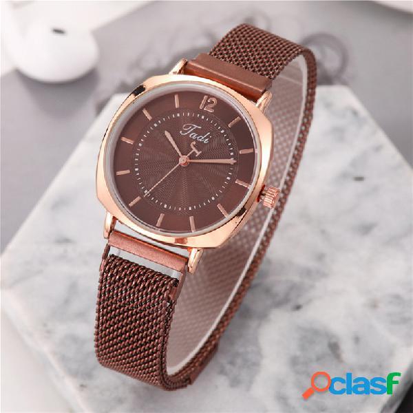Relógio de pulso feminino formal moderno, exclusivo design, mostrador ouro rosa caso, relógios de quartzo