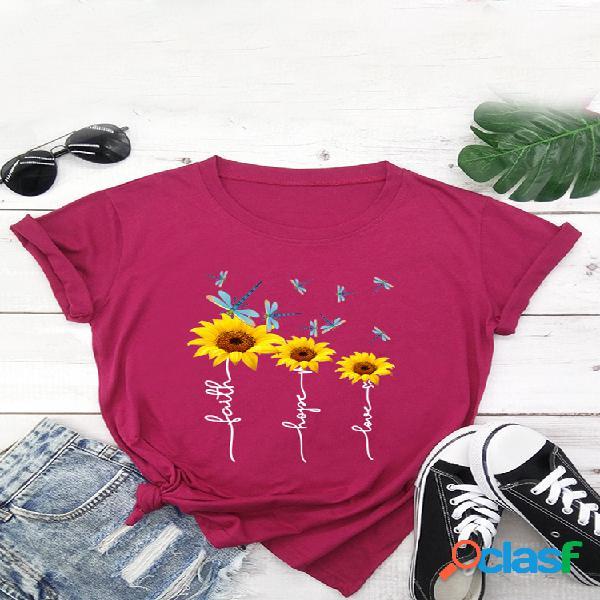 Camiseta de manga curta estampada floral com decote em o