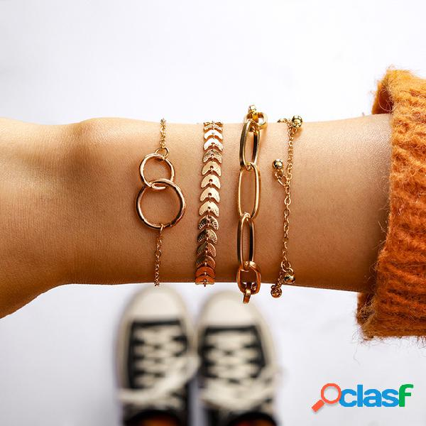 Bohemian geometric circle oval chain pulseira de várias camadas de metal folha tassel chain bracelet