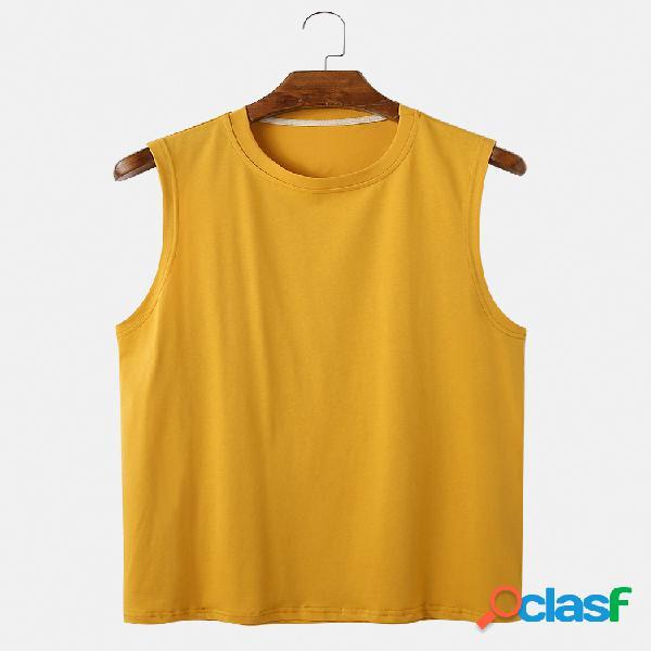 Camiseta masculina de algodão respirável cor sólida redondo pescoço