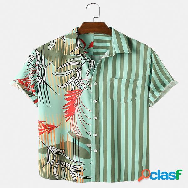 Homens folha patchwork listrado casual feriado design camisa