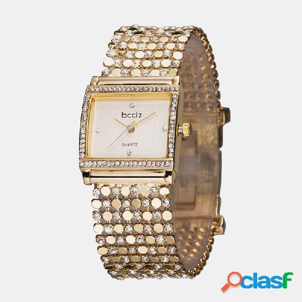 Mulheres de luxo na moda relógio de pulso retângulo dial pulseiras de cobre relógio de quartzo impermeável