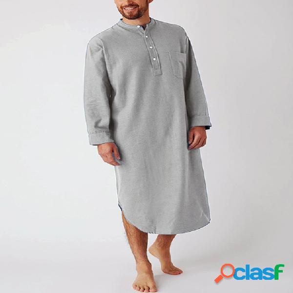 Respirável comprimento henley collar design tops linho de algodão de cor sólida robes casuais para homens